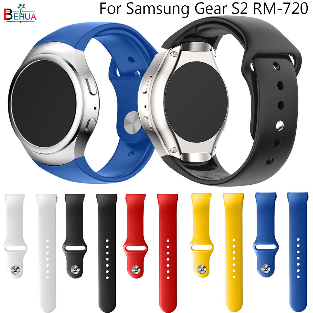 BEHUA For Samsung Gear S2 R720 Watch Strap Replacement Silicone Bracelet Sport Watchband Straps For Samsung Gear S2 Watch Band
