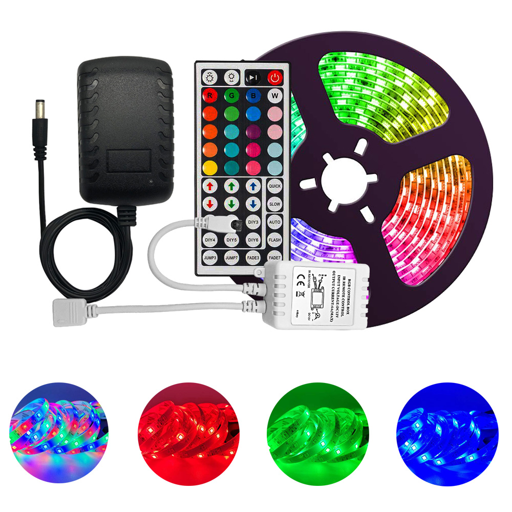 Led Strip Lights Multi-Color Kit  IP65 Waterproof Flexible RGB 300leds with 44 Key Remote DC 12V Power Supply for Indoor