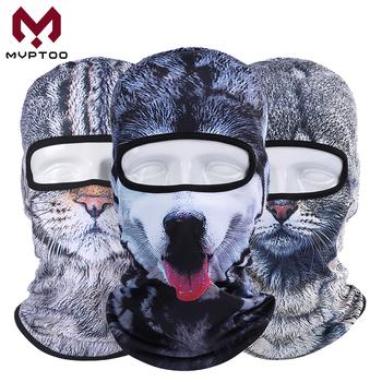 3D zwierząt kot pies Husky czapka kominiarka motocykl Motocross Moto Ski Snowboard kask Liner szef tarcza czapka z maską na twarz mężczyźni kobiety tanie i dobre opinie mvptoo Oddychająca Szybkie suche Wiatroszczelna Motorcycle Animal Face Mask Balaclava Motorcycle Motorbike Touring Racing