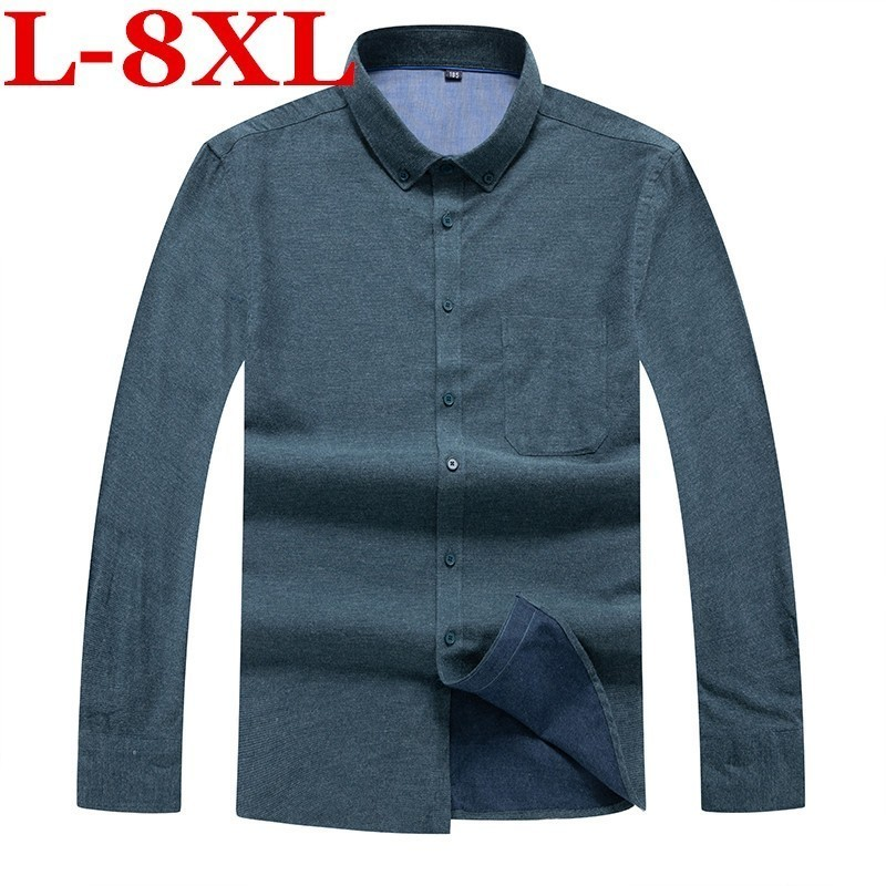 Plus Size  8XL 7XL 6XL Business Shirts  New Fashion  Brand Clothing Mens  Long Sleeve Work Shirt Slim Fit Shirt Casual Shirt