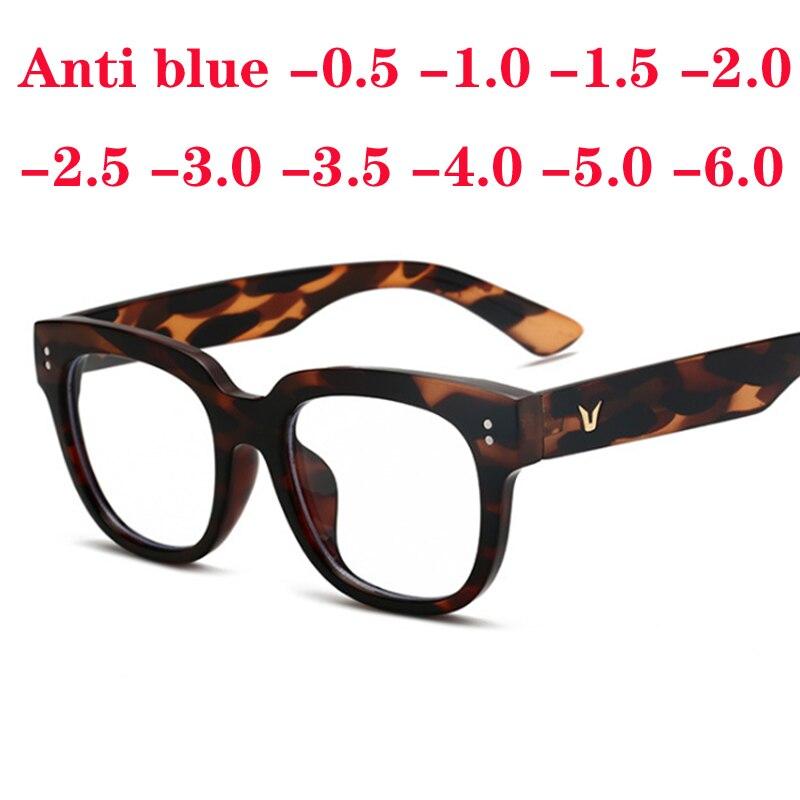 Oversize Square Frame Women Luxury Anti Blue Eyewear V-legs Glasses 0 -0.5 -1.0 -1.5 -2.0 To -6.0