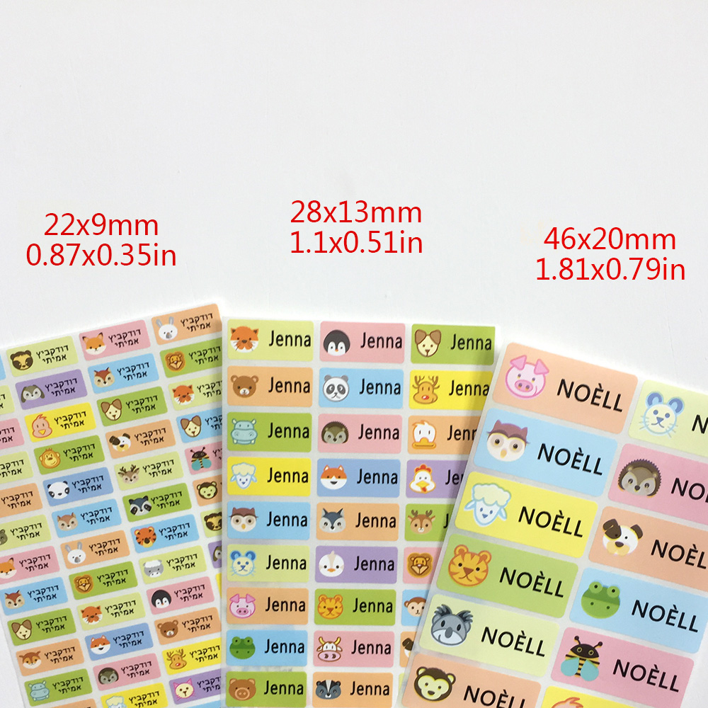 3Size Cute Cartoon Animal Pattern Custom Name Stickers Waterproof Tag Labels For Children Personal Scrapbook School Stationery