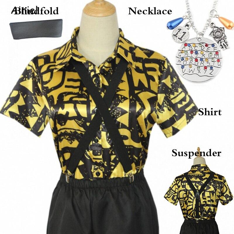 Strangestory Stranger Things Eleven Costume 3D Print Short Sleeve T Shirt Blouse Women Yellow Shirt Blindfold Suspender Men Girl