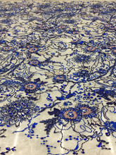 슈퍼 럭셔리 궁전 블루 수제 구슬 자수 패브릭 프랑스어 네트 원사 나이지리아 레이스 패브릭 절묘한 이브닝 드레스 웨딩