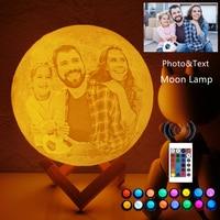 Foto/Tekst Custom 3D Printing Maan Lamp Nachtlampje Aangepaste Gepersonaliseerde Lunar Usb Oplaadbare Lamp Touch/Tap/remote Switch