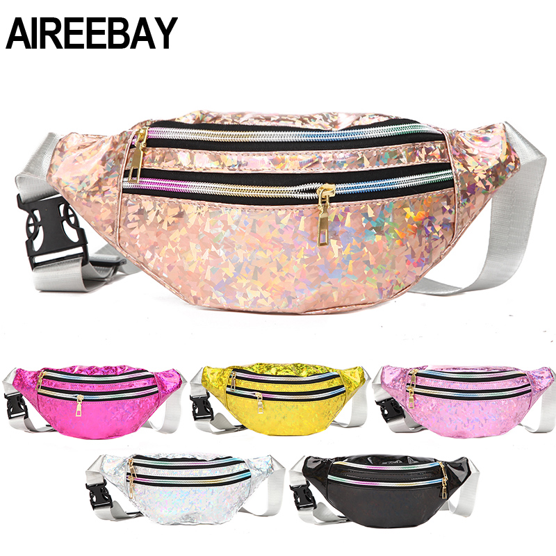 AIREEBAY 3-Zipper Pocket Female Holographic Fanny Pack Pink Silver Sequined Waist Pack For Women Laser Chest Bum Hologram Bags