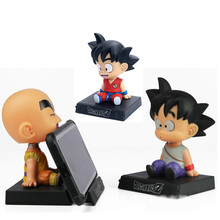 Bobble Head Dragon Ball Action Son Goku Figure Krillin Shake Head Phone Holder Bracket Car Decoration Anime Model PVC Toys Gifts