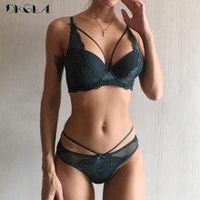 Conjunto de ropa interior verde para mujer Sujetador Push Up algodón grueso negro recoger bragas Sexy sujetador conjunto de lencería de encaje bordado