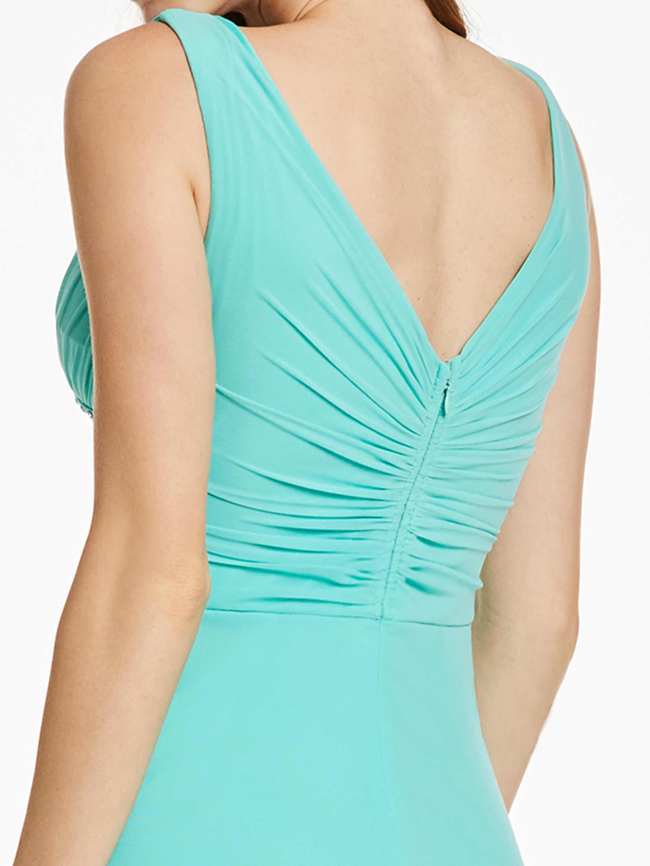 Dressv الخامس الرقبة فستان سهرة طويل النعناع مطرز طيات بلا أكمام خط طول الكلمة سستة حتى فستان فساتين السهرة الرسمية الرخيصة