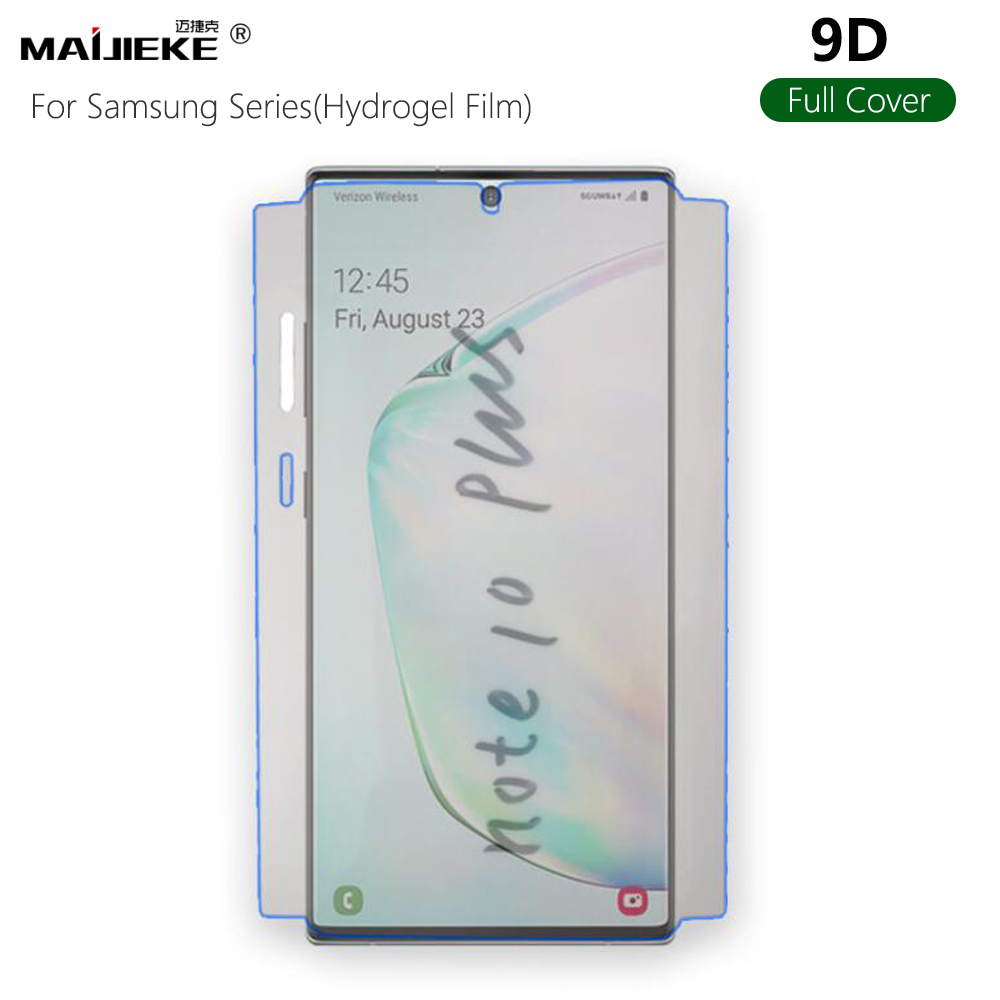 9D Front Screen Protector For Samsung Galaxy Note 10 plus Note 9 Note 8 S10 plus S8 S9 Plus S7 edge TPU back Hydrogel Film
