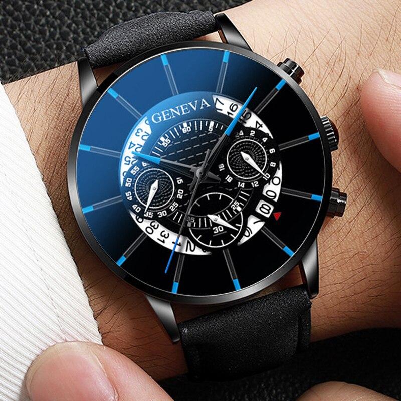Reloj Hombre Luxury Men's Watch Fashion Men's Business Calendar Stainless Steel leather Belt Analog Quartz Casual mens clock