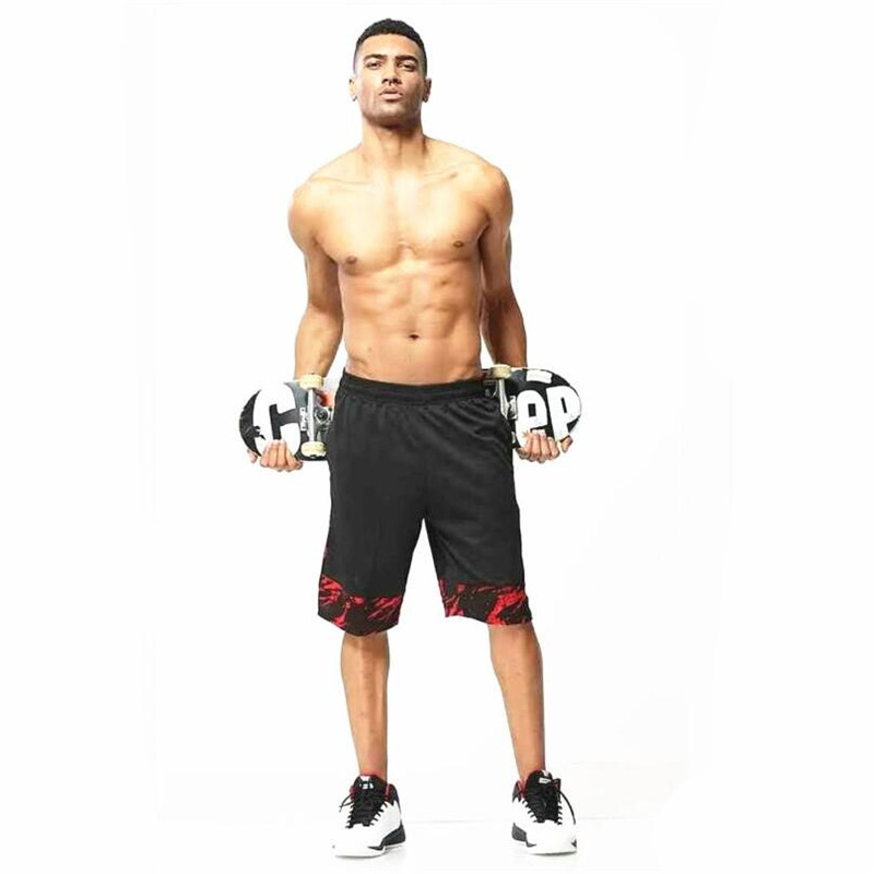 Basketball Sports Five Shorts Black Red White Anti-pilling Breathable Quick-drying Loose Fitness Basketball Five Shorts