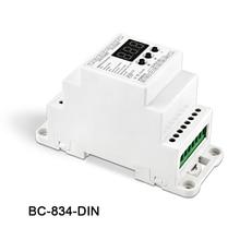 все цены на New BC-834-DIN DIN Rail DC12 24V 6A*4CH output,4CH Constant voltage DMX512/1990 Decoder controller for led strip light lamp