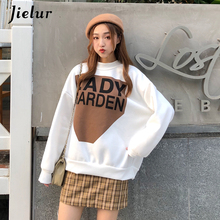 Jielur 2019 Winter Hoodies Pullover Women Thick White Letter Print Sudadera Mujer Loose Chic Korean Style Sweet Fashion