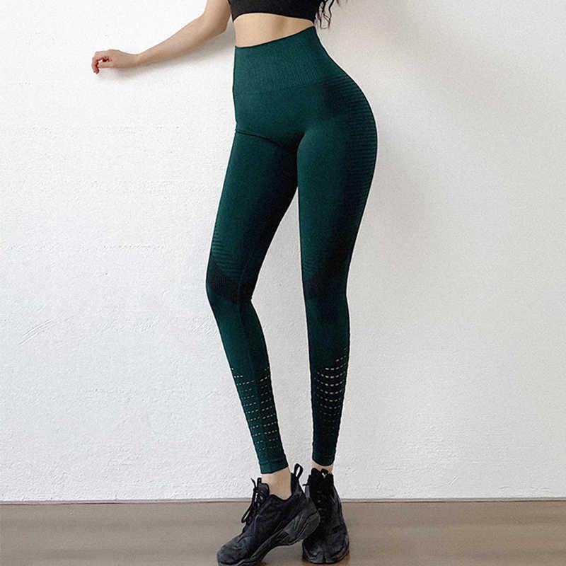 Seksi yüksek bel Legging kadınlar yeşil Push Up İnce içi boş tayt bayanlar spor rahat şerit kalem pantolon Spandex elastik Legging
