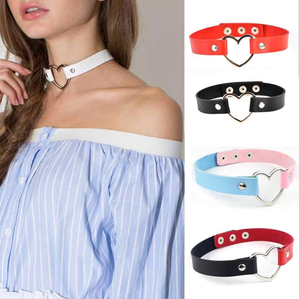 Zoeber Punk Leather Handmade Charm Chokers Necklaces Women Heart Buckle Belt Charm Kawaii Lolita Metal  Necklace Collar