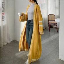 LANMREM 2021 nuovo Cardigan lungo stile primavera per donna maglione lavorato a maglia Casual Patchwork a righe allentato cappotto popolare PC425