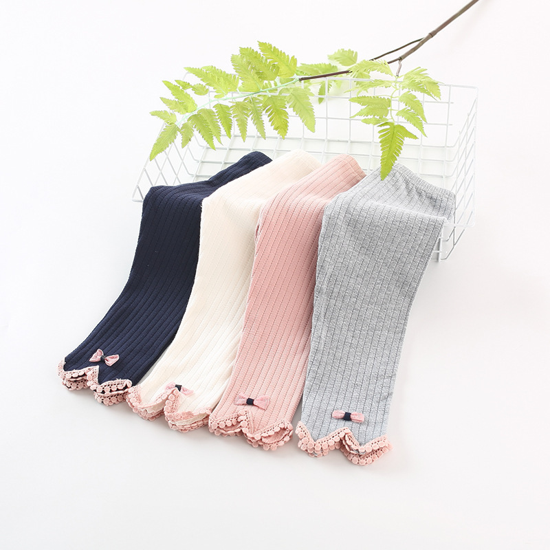 Kids baby girls Leggings Lovely Spell Color Cotton Girls Slim Long Pants Autumn New Arrival Baby Girls Outwear Leggings 0-3Y(China)