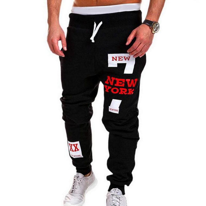 Mens Casual Pants  Letter Print Sweatpants 2019 New Male Lace-up Loose Hip  Trousers Joggers Track Cotton Pants