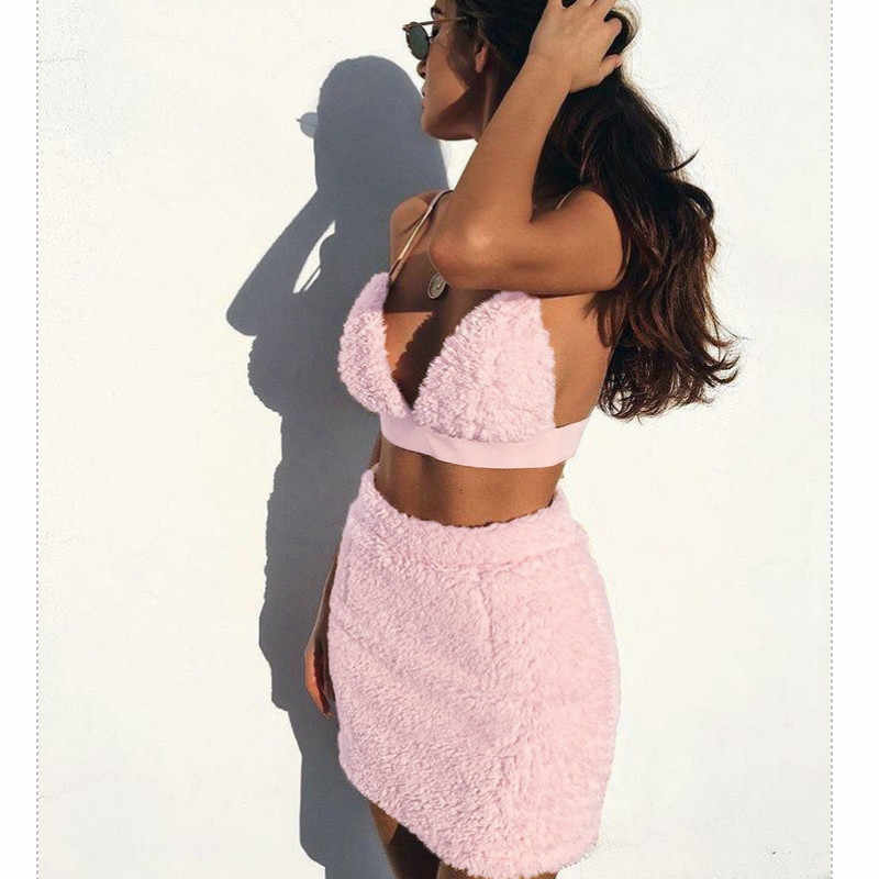 섹시한 모피 여성 시시 레이스 브래지어 스커트 정장 숙녀 세트 Babydoll 핑크 솜털 에로틱 세트 잠옷 속옷