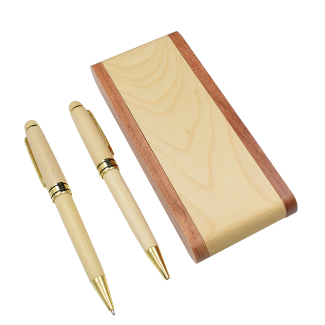 Stylo en bois avec étui stylo à bille en bois plié avec boîte de Nature bois dérable 0.5mm noir stylo à bille fournitures scolaires de bureau