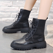 Womens Boots 2019 Fashion Motorcycle for Women Winter Ankle Black Platform