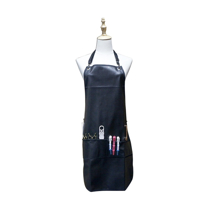 Barbershop Hairdresser Salon Apron With Pockets Leather Hairdressing Apron Cape Waterproof PU Hairstylist Barber Apron For Men
