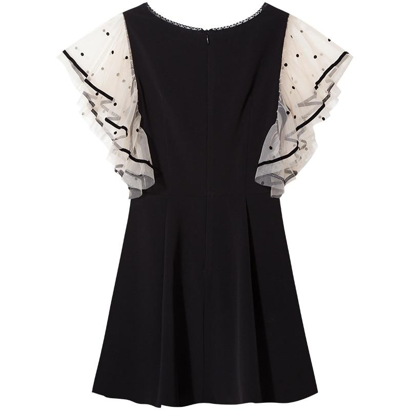 YIGELILA Fashion Women Little Black Dress Summer V neck Butterfly Sleeve Mesh Patchwork Empire Slim Ruffles Mini Dress 64241 in Dresses from Women 39 s Clothing