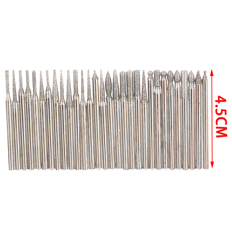 30PC 2.5/3mm Diamond Point Burr Bits Head For Dremel Accessories Shank Grinding Needle Carving Polishing Mounted Mini Drill Tool