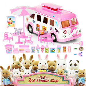 Forest Animal Family Picnic Car Set Rabbit Bear Panda 1:12 Furniture for Dolls Toy DIY Forest Home Mini Bedroom Set For kids
