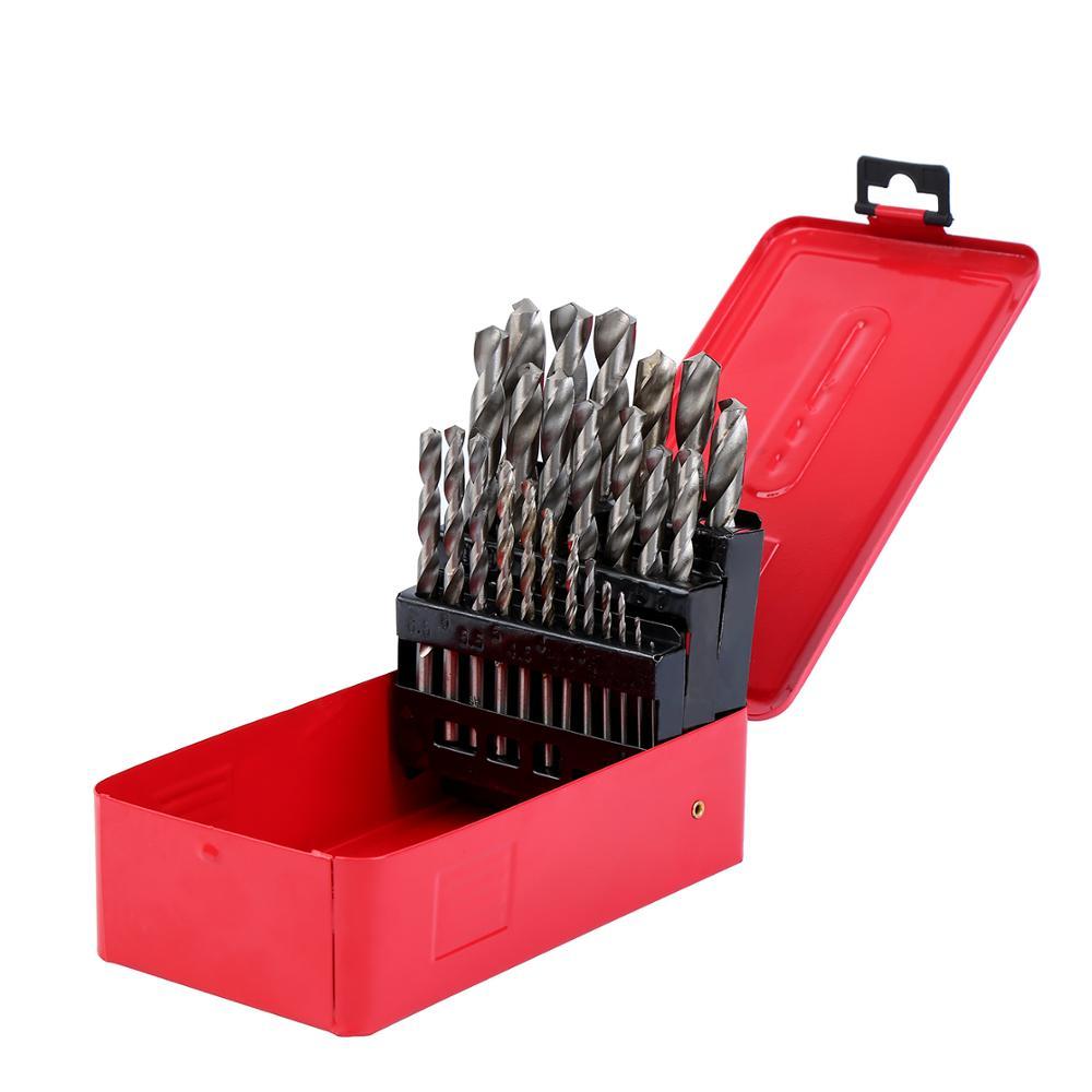 25pcs HSS Twist Drill Bit Set In Metal Cobalt Drill Bit With Red Box 1- 13mm
