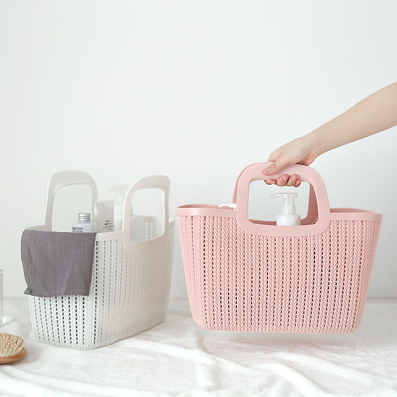 Imitation Rattan Multi-functional Hand Storage Basket Bathroom Bath Debris Storage Basket Kitchen Plastic Hollow Out Storage Bas