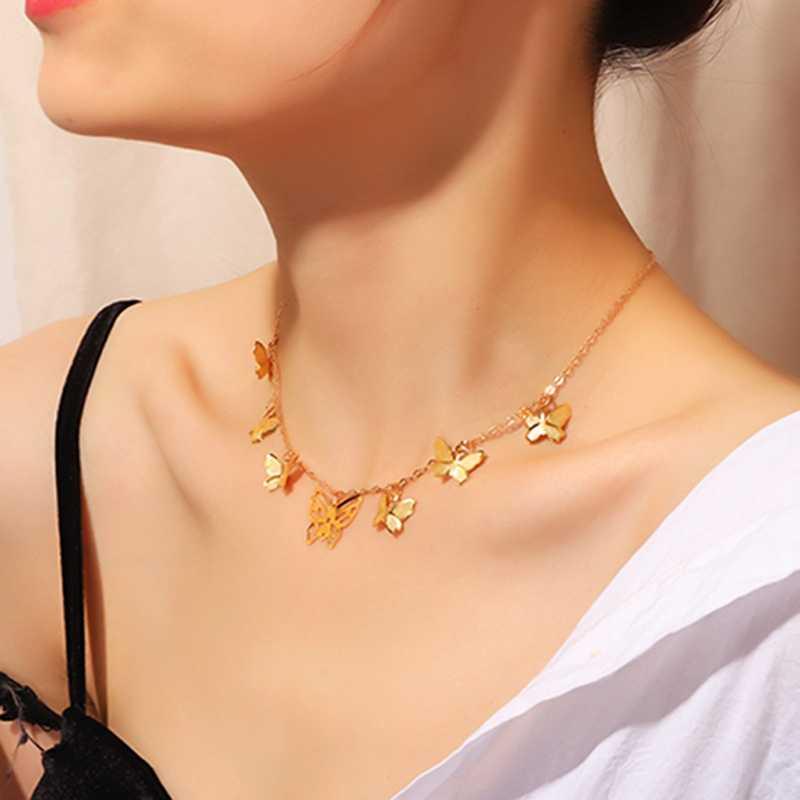 ボヘミアンかわいい蝶チョーカー女性ゴールドシルバー色の鎖骨チェーン 2020 ファッション女性チョーカージュエリー