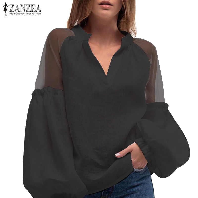 Zanzea Sexy Patchwork Kant Lantaarn Mouw Shirts 2020 Vrouwen Mode Blouse Casual V-hals Werk Wit Tuniek Tops Blusas Chemise
