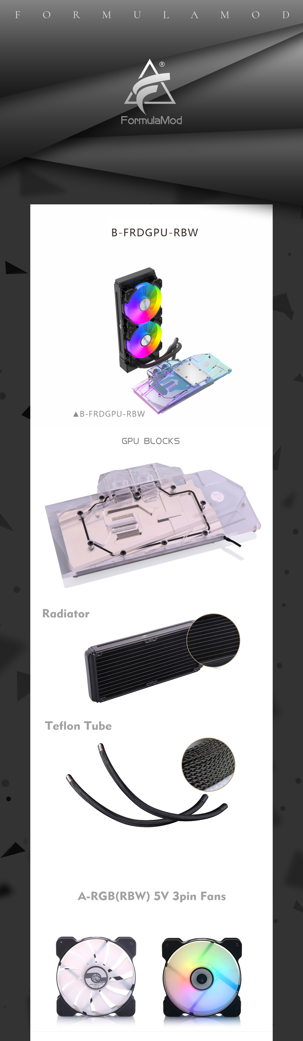 Integrated Type GPU Block With 240 Radiator Water Cooling System Aio Cooler For AMD/NVIDIA, B-FRDGPU-RBW