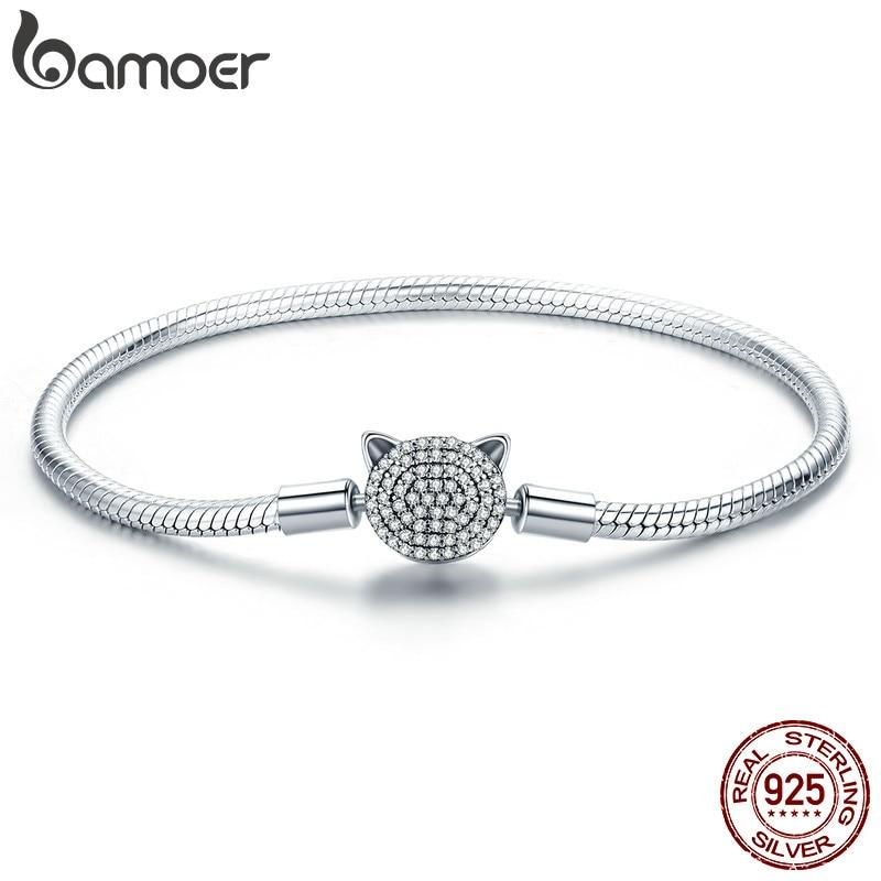 BAMOER 100% 925 Sterling Silver Cute Cat Glittering CZ Snake  Strand Chain Bracelets for Women Sterling Silver Jewelry SCB053Charm  Bracelets