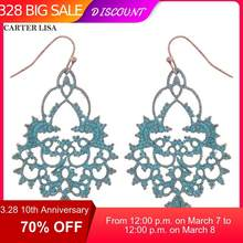 CARTER LISA Indian Large Blue Bohemian Statement Dangle Earrings For Women East Indian Jewelry Gifts accesorios mujer kolczyki(China)