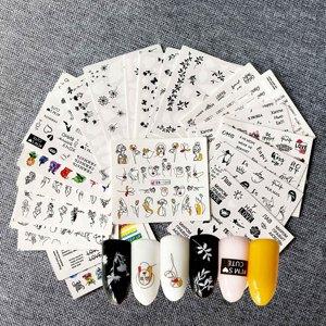 Image 1 - 1 ชุดผสมการออกแบบ Cool สาวเซ็กซี่เล็บสติกเกอร์ตัวอักษรคำใบรูปแบบรูปลอกน้ำ Slider Wraps Decor เล็บ