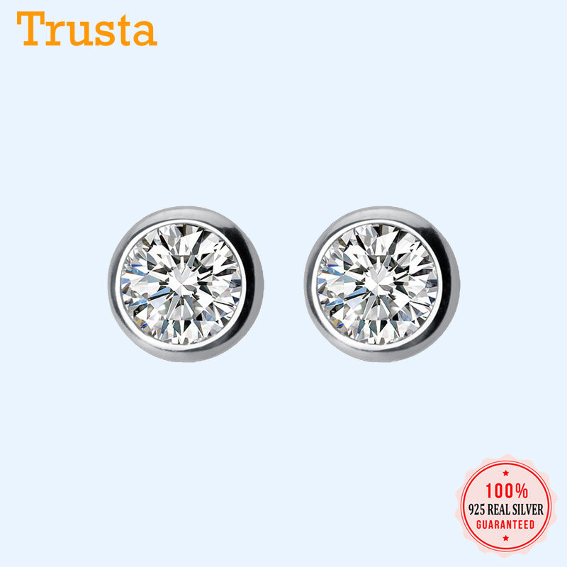 Trustdavis 925 Sterling Silver Tiny Dazzling Round CZ 4mm 5mm 6mm Stud Earring For Women Girls Kids Silver 925 Jewelry Gift DT55