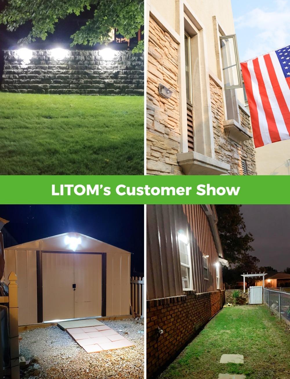 2 Pack LITOM 300 LED Solar Lights Garden Upgraded PIR Motion Sensor Lights IP67 Waterproof 3 Intelligent Modes Solar Wall Lights (6)