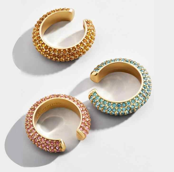 New Arrival Colorful Crystal Zircon Pave Cuff Earrings For Women Bohemian C Shape Samll Circle Brincos Hot Trendy Jewelry Gifts