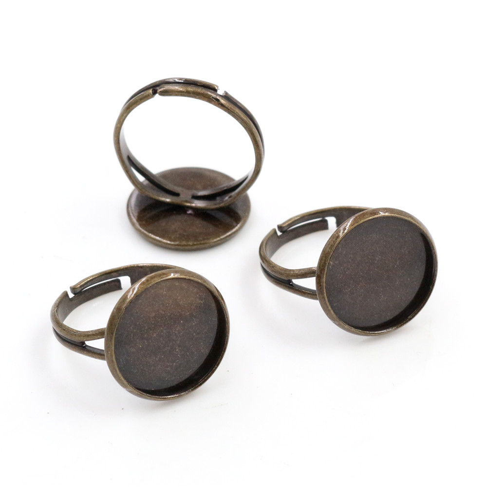 14mm 10pcs Antique Bronze Plated Brass Adjustable Ring Settings Blank/Base,Fit 14mm Glass Cabochons,Buttons;Ring Bezels -K6-22