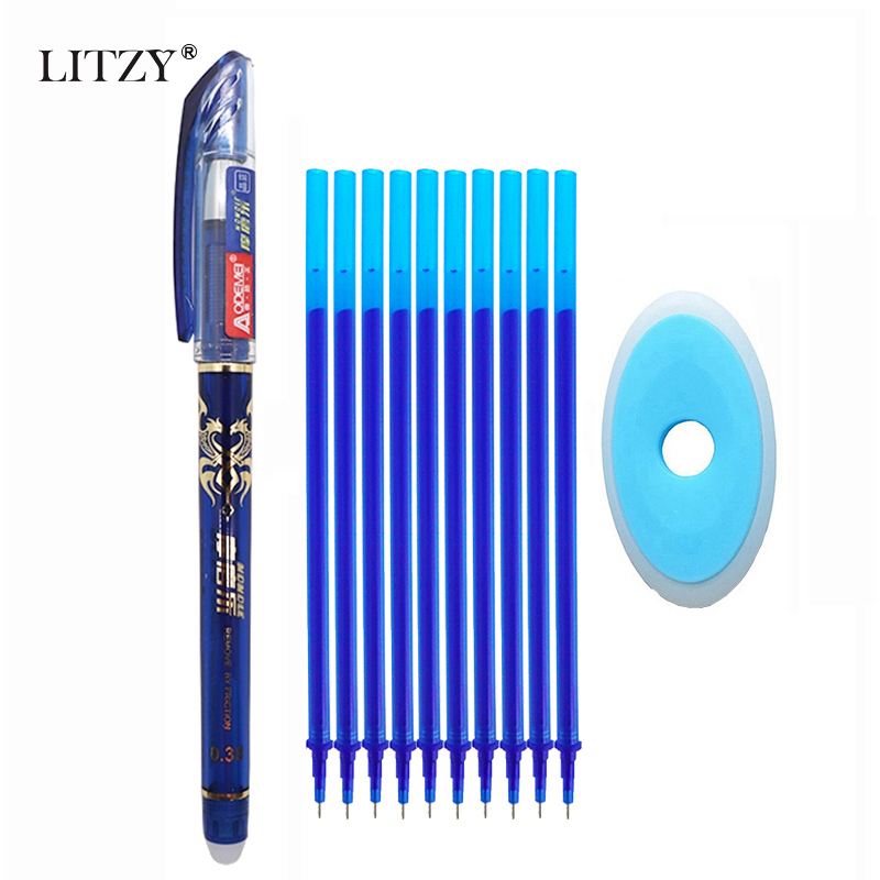 12Pcs/lot Erasable Pen Refill Rod 0.38mm Blue/Black/Red Ink Gel Pen Washable Handle Set For School Office Writing Supplies Tool