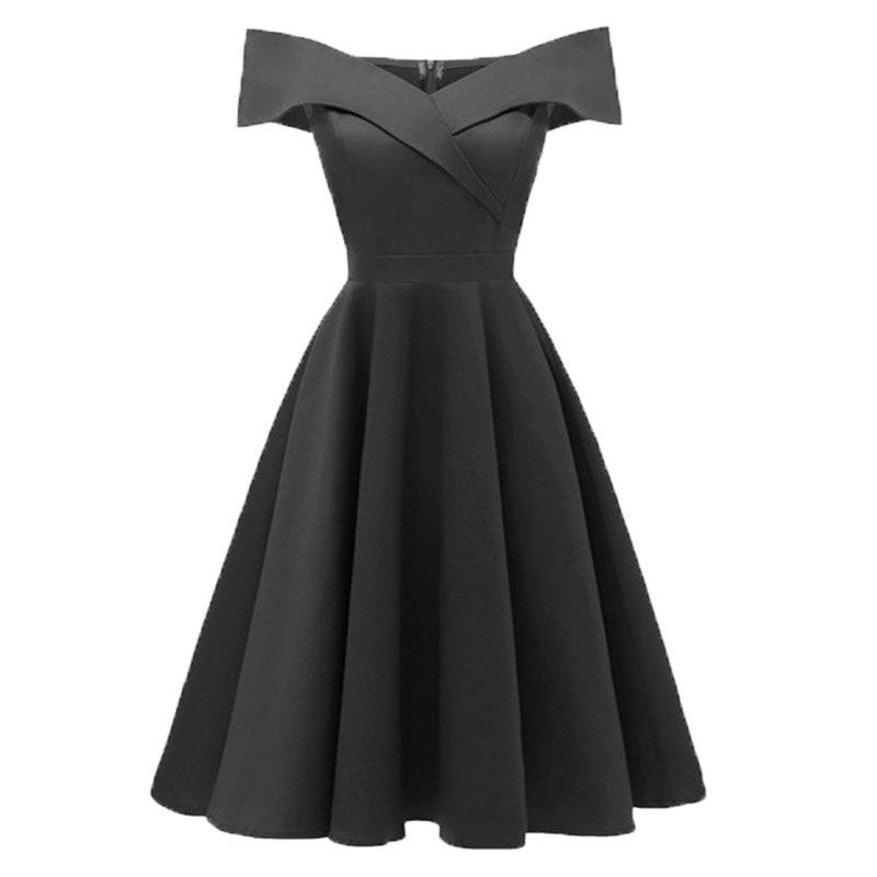 Dressv бордовый платье для коктейля дешево с плеча с короткими рукавами выпускные платья элегантное платье для коктейля - Цвет: Black