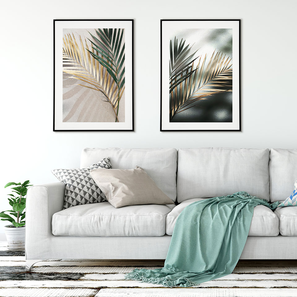 Golden Leaves Posters Prints Palm Poster Scandinavian Wall Art Fashion Canvas Painting Modern Wall Pictures For Living Room