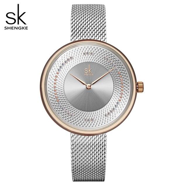 Women Watch SK Luxury Brand Simple Women Watches Fashion Silver Bracelet Ladies Watch Stainless Steel Clock Relogio Feminino