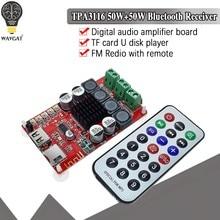 Wavgat tpa3116 50w + 50w receptor bluetooth placa de amplificador de áudio digital tf cartão u disk player fm redio com controle remoto