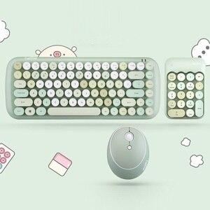 Image 2 - Беспроводная клавиатура, набор для мыши, для ноутбука, бесплатный коврик для мыши, коврик для мыши, 1600DPI, беспроводная мышь, ретро, панк, цветная, 84 круглые клавиши, клавиатура