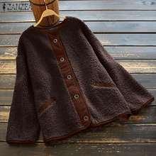 Thin Jackets Outwear Fluffy Coats ZANZEA Plus-Size Women Long-Sleeve Vintage Casual Button