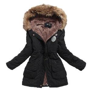 Image 2 - Chaqueta de invierno para mujer, Abrigo acolchado de algodón, largo y grueso de talla grande 4XL, prendas de vestir, Abrigo acolchado